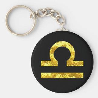 Libra Zodiac Sign Black Gold Symbol Basic Round Button Key Ring