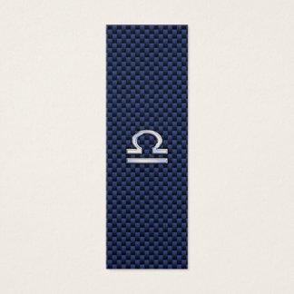 Libra Zodiac Sign on Navy Blue Carbon Fiber Mini Business Card