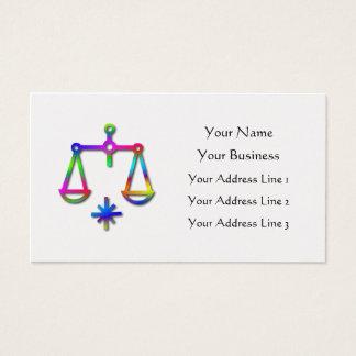 Libra Zodiac Star Sign Rainbow Gold Business Card