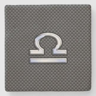 Libra Zodiac Symbol on Carbon Fiber Print Stone Coaster