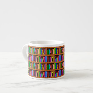 Library Book Shelf Pattern for Readers Espresso Cup