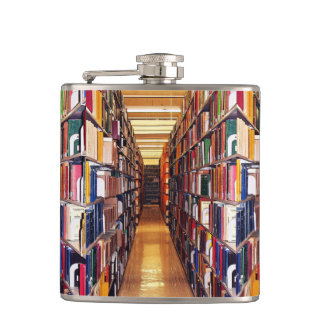 Library Books Hip Flask