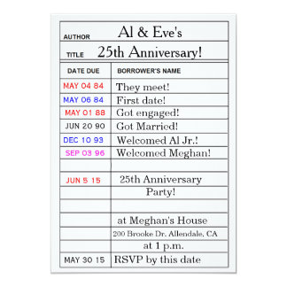 """Library Card"" Anniversary Party Invitations"