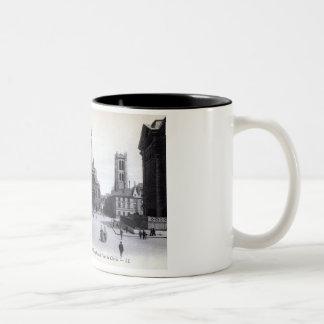 Library Saint-Genevieve, Paris France 1905 Vintage Two-Tone Coffee Mug
