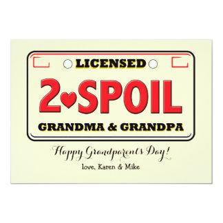 "Licensed To Spoil Grandparents Day Card 5"" X 7"" Invitation Card"