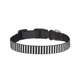 Licorice Black and White Cabana Stripes Pet Collar