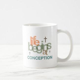 Life Begins At Conception Basic White Mug
