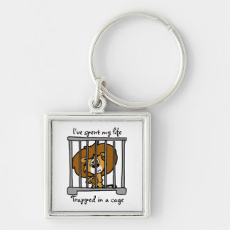 Life in cage Key ring Silver-Colored Square Key Ring