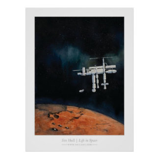 Life in Space -- ISS at Mars Poster
