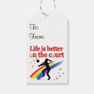 LIFE IS BETTER ON THE COURT VOLLEYBALL DESIGN GIFT TAGS
