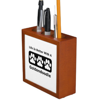 Life Is Better With A Goldendoodle Desk Organiser