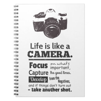 Life is like a camera quote, Black Grunge Notebook