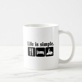 Life is simple, snowmobiling coffee mug