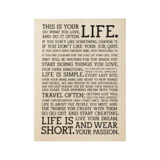 Life Motivational Words Typography Wood Poster