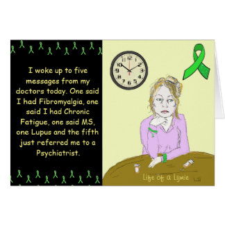 Life of a Lymie Lyme Disease Sick Lady Cartoon Greeting Card