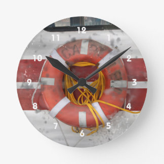life ring grunged photo boat marine boating image round clock