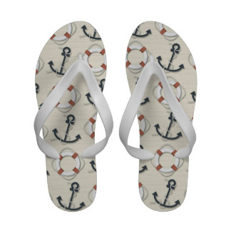Life Rings and Anchor Nautical Flip Flops
