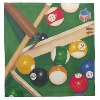 Lifelike Billiards Table with Balls and Chalk Napkin