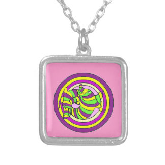 Lifesaver Dolphins into the swirl. Silver Plated Necklace