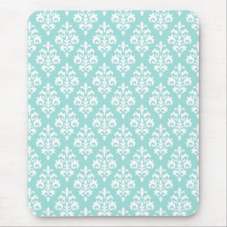 Light Aqua and White Damask Mousepad