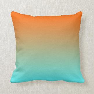 Light Aqua Orange Ombre Throw Pillow