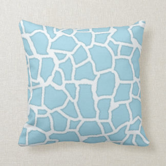 Light Baby Blue Giraffe Animal Print Cushion