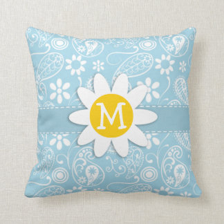 Light Baby Blue Paisley; Daisy Throw Pillow