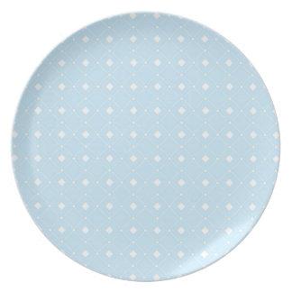 Light Baby Blue Retro Squares Dinner Plate