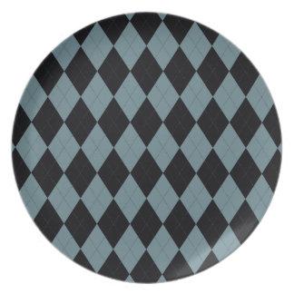 Light Blue and Black Argyle Plate