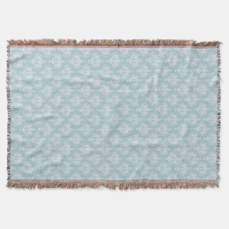 Light Blue And Lilac Damask Throw Blanket