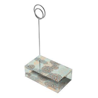 Light Blue and Tan Flower Burst Design Table Card Holder