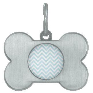 Light Blue and White Chevron Stripe Pattern Pet ID Tag