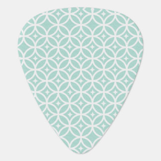 Light Blue and White Circle and Star Pattern Guitar Pick