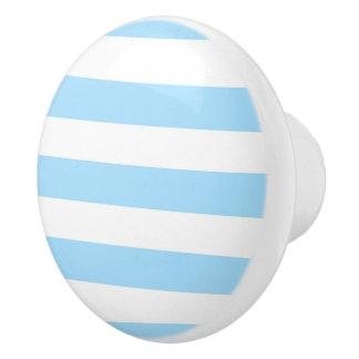 Light Blue and white Stripes Ceramic Knob