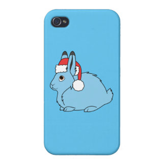 Light Blue Arctic Hare with Red Santa Hat Case For iPhone 4