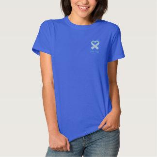Light Blue Awareness Ribbon Embroidered Shirt