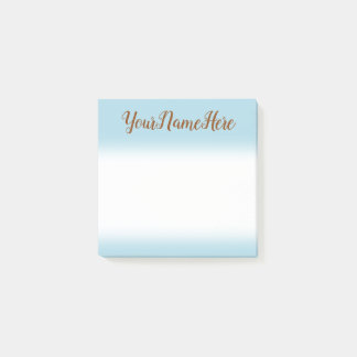 Light Blue Background and Brown Script Style Name Post-it Notes