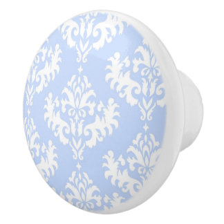 Light Blue Damask Ceramic Knob