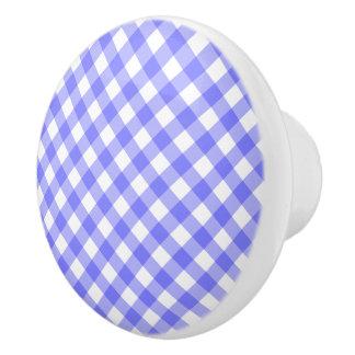 Light Blue Gingham Ceramic Knob