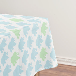 Light blue & green elephants tablecloth