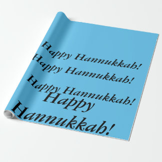 light blue Happy Hannukkah gift wrap just words Wrapping Paper