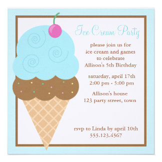 Light Blue Ice Cream Cone Invitation