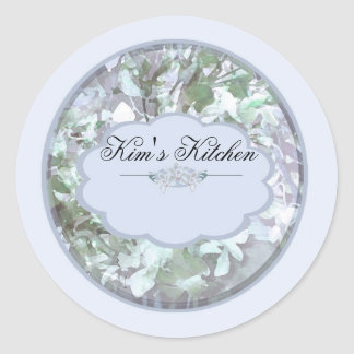 light blue orchids personalized spice jar labels B Round Sticker