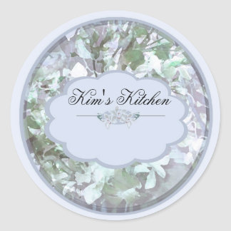 light blue orchids small jar labels round sticker