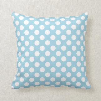 Light Blue Polka Dots Throw Pillow