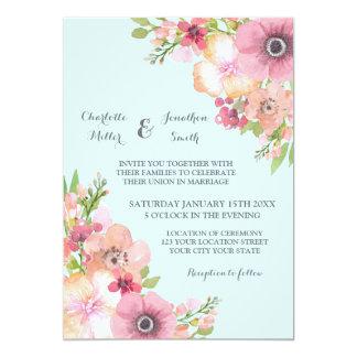 Light Blue Rustic Pink Flowers Wedding Invitations