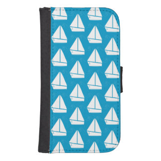 Light Blue Sailboat Pattern Samsung S4 Wallet Case