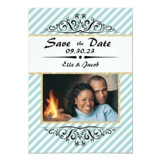 Light Blue Striped Save the Date Flat Photo Card