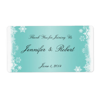 Light Blue White Snowflakes Wedding Water Label