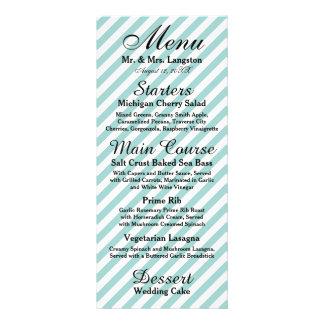 Light Blue White Striped - Reception Menu 10 Cm X 23 Cm Rack Card